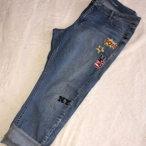 NY & Co SoHo Boyfriend Jeans w/ Cute Patches